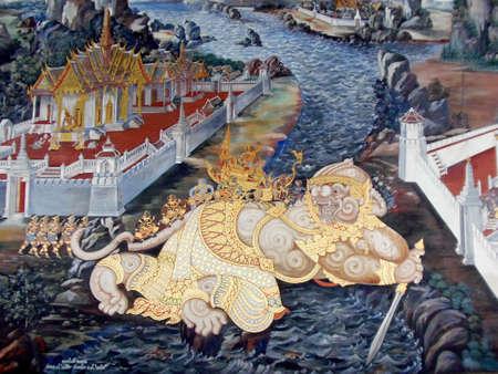 hanuman: Hanuman as a Bridge Mural Editorial