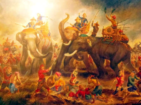 legend: The Legend of Her Majesty Suriyothai Sacrifice Herself in White Elephant War Ayudthaya Period  Stock Photo
