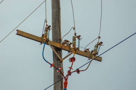 Electric power lines with power circuit breakers Imagens