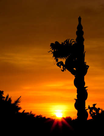 Dragon statue silhouetted photo