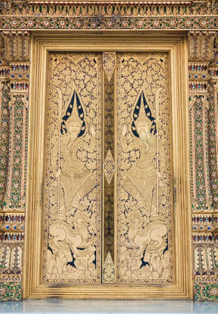 Thai Temple door painting photo