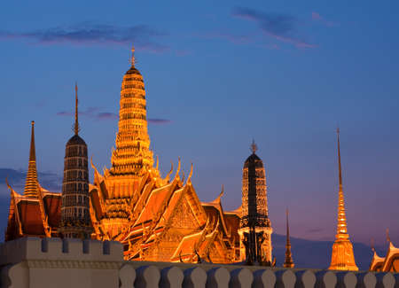 Wat Phra Kaew,  Grand Palace of Thailand in twilight photo