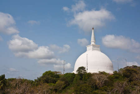 The huge white Mahaseya Stupa (Dagoba) in  Mihintale, Sri Lanka photo