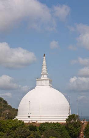 dagoba: The huge white Mahaseya Stupa (Dagoba) in  Mihintale, Sri Lanka