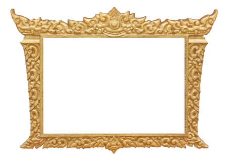 Frame of Thai ancient art, isolated on white background  photo