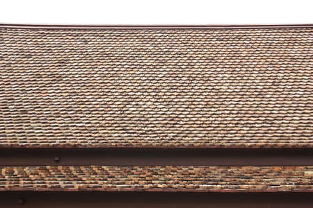 Thai house style roof tiles on wihte background photo