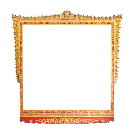 Frame of Thai ancient art, isolated on white background. photo
