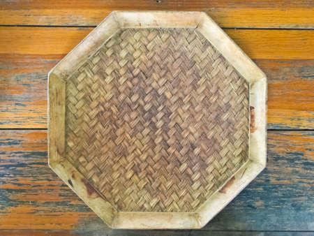 Thai style bamboo weaved saucer photo