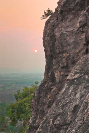 Mountain cliff and beautiful twilight sky in Thailand photo