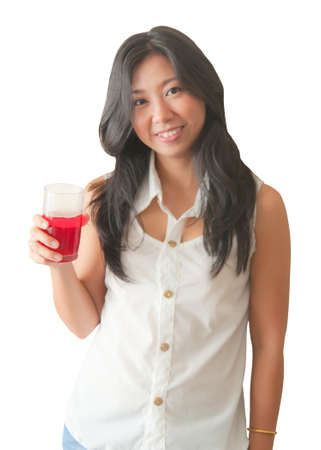 An Asian woman relaxing with soft drink, isolated on white background photo