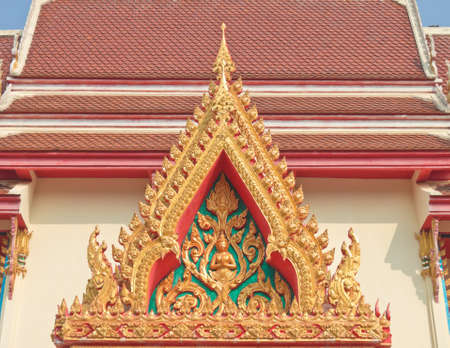 apex: Buddhist temple gable with apex Stock Photo
