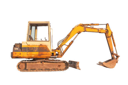 Old compact size excavator machine, isolated on white background photo