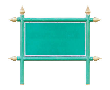 apex: Green wood board sign with iron frame and Thai style golden apex