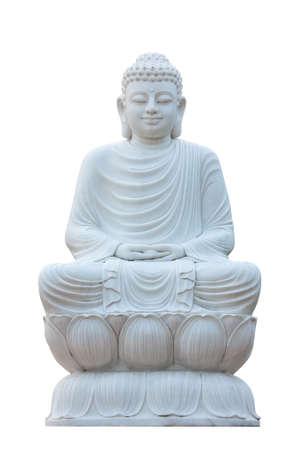 White chinese style meditation Buddha statue, isolated on white background Stock Photo - 25123438