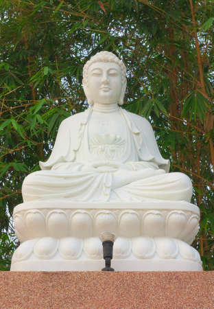 White chinese style meditation Buddha statue Stock Photo - 25123445