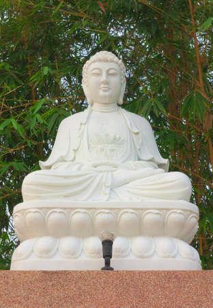White chinese style meditation Buddha statue Stock Photo - 25123445