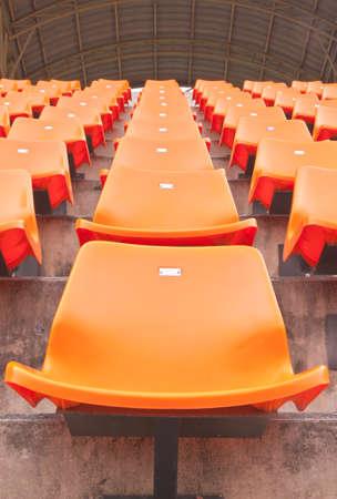 grandstand: Column of grandstand seat in a stadium
