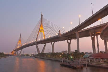Twilight scenery of Bhumibol Bridge in Samut Prakarn province, Thailand photo