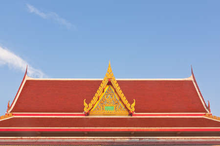 buddhist temple roof: Thai Buddhist temple roof with gable and apex Stock Photo