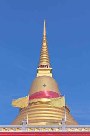 samutprakarn: Thai Buddhist golden pagoda in Samutprakarn, Thailand