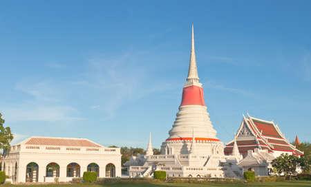 samutprakarn: Thai Buddhist white pagoda in Samutprakarn, Thailand