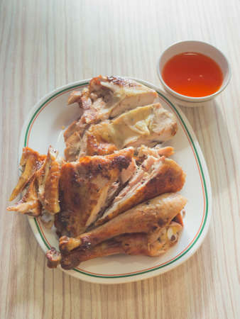 Roasted chicken with sweety chili sauce photo