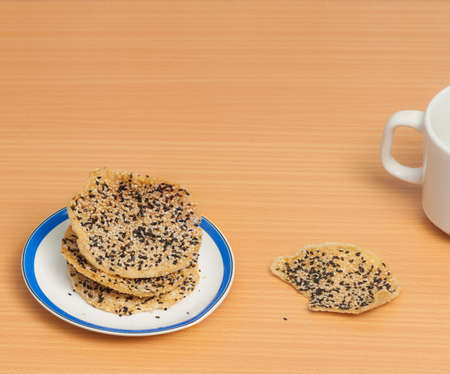 strew: Crunchy rice cracker strew with black and white sesame