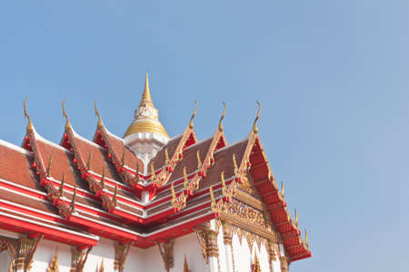 buddhist temple roof: Thai Buddhist temple roof top with small pagoda