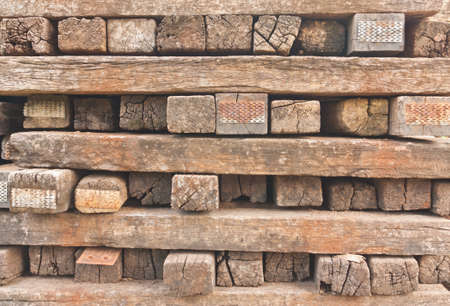 cast off: Stacked of old railway sleepers