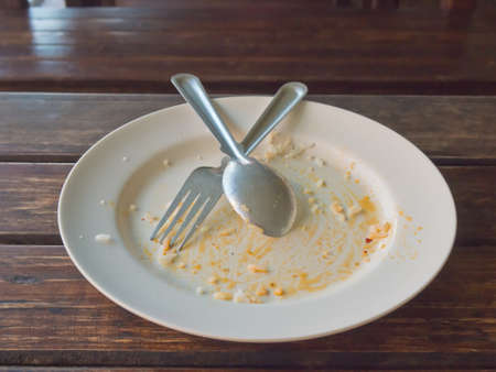 the residue: Empty food plate after meal