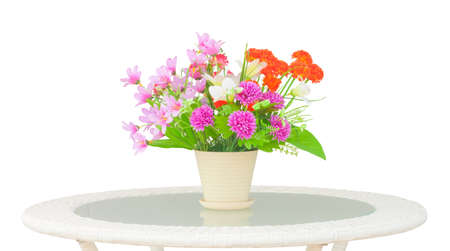 unreal: Ornamental unreal bouquet on table clipping on white background