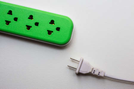 power: power outlet and power plug on white background