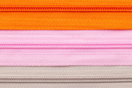 Close up of colorful and many zipper for tailoring