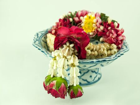 jasmine garland for offering in Thai  festival Stock Photo