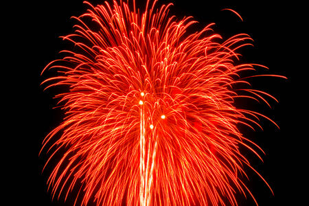 beautiful red  firework on the night scene at happy new year  photo