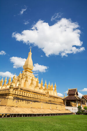 mystic place: Lao people worship Pha That Luang temple at Lao nationalism.