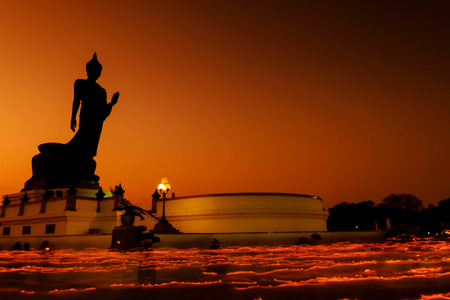 puja: Buddhism light waving rite in  Magha Puja Asalha Puja and Visakha Puja Day at Thailand.