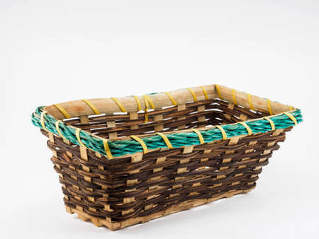 stiff: A basket is a container which is traditionally constructed from stiff fibers. Stock Photo