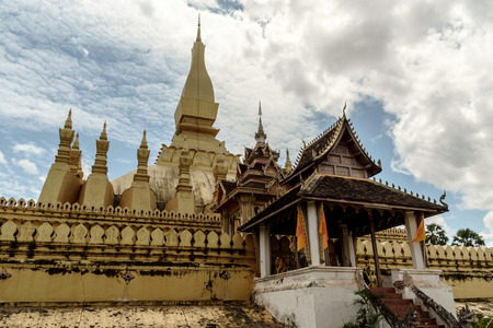 lao: Lao people worship Pha That Luang temple at Lao nationalism.