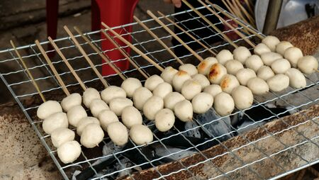 cooked pepper ball: grilled meat balls with spicy sauce delious food. Stock Photo