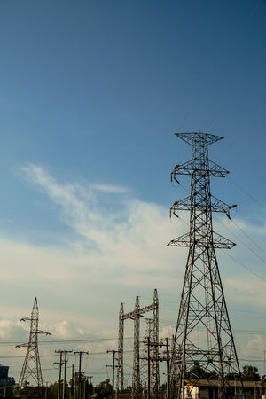 electric power station: Power plant station generate electric power energy high voltage Stock Photo