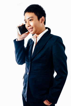 Business boy talking mobile phone