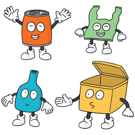 dispose: set of recycle garbage cartoon