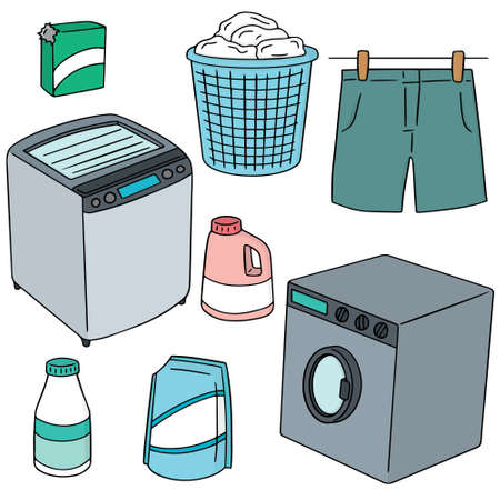 washing clothes: vector set of clothes and washing machine