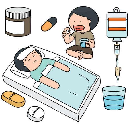 sleeping pills: vector set of medicine and patient