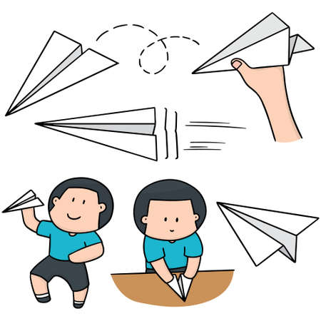 vector set of boy and paper plane Illustration