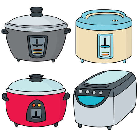 vector set of rice cooker