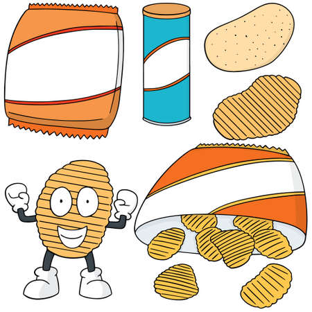 tuber: vector set of potato chips
