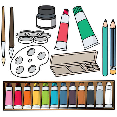 vector set of painting accessories 일러스트