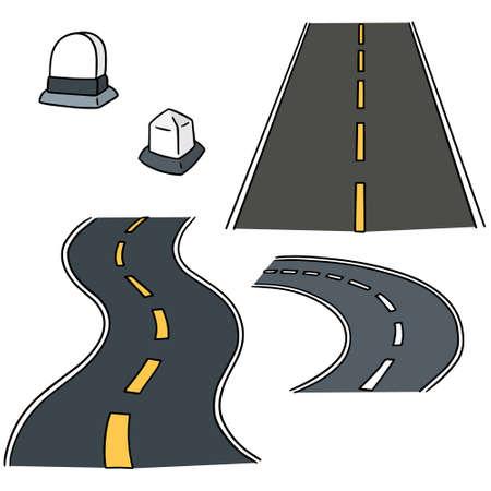 milestone: vector set of road and milestone